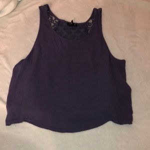 Large purple crop top with sheer lace back